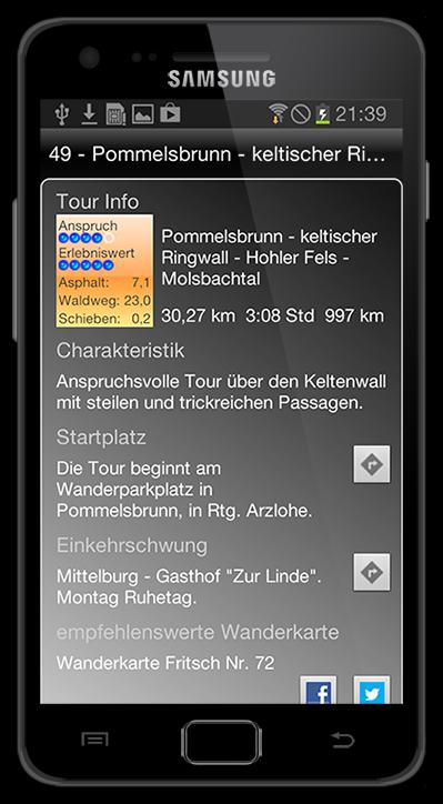 Tour Info. Die BikeGuide App für Android.