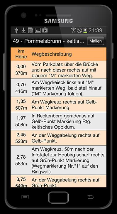 Tourenbeschreibung. Die BikeGuide App für Android.