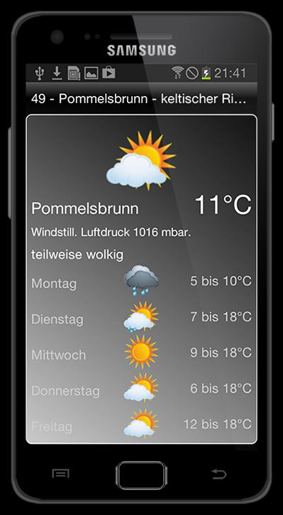 Wetter Info. Die BikeGuide App für Android.