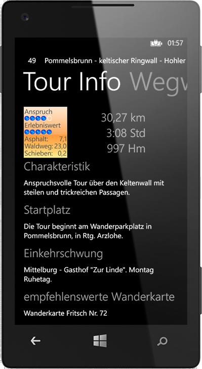 Tour Info. Die BikeGuide App für WindowsPhone.