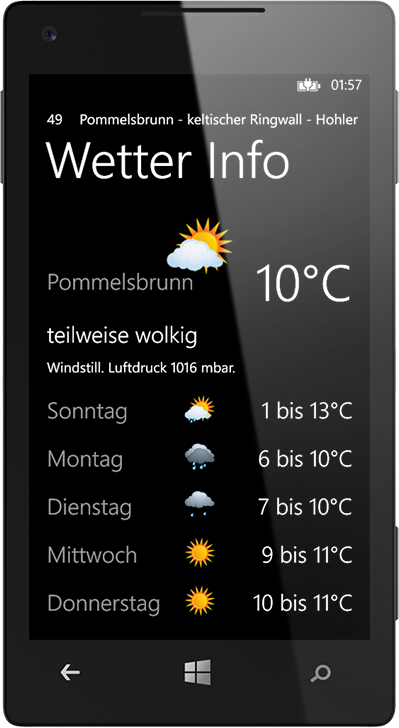 Wetter Info. Die BikeGuide App für WindowsPhone.