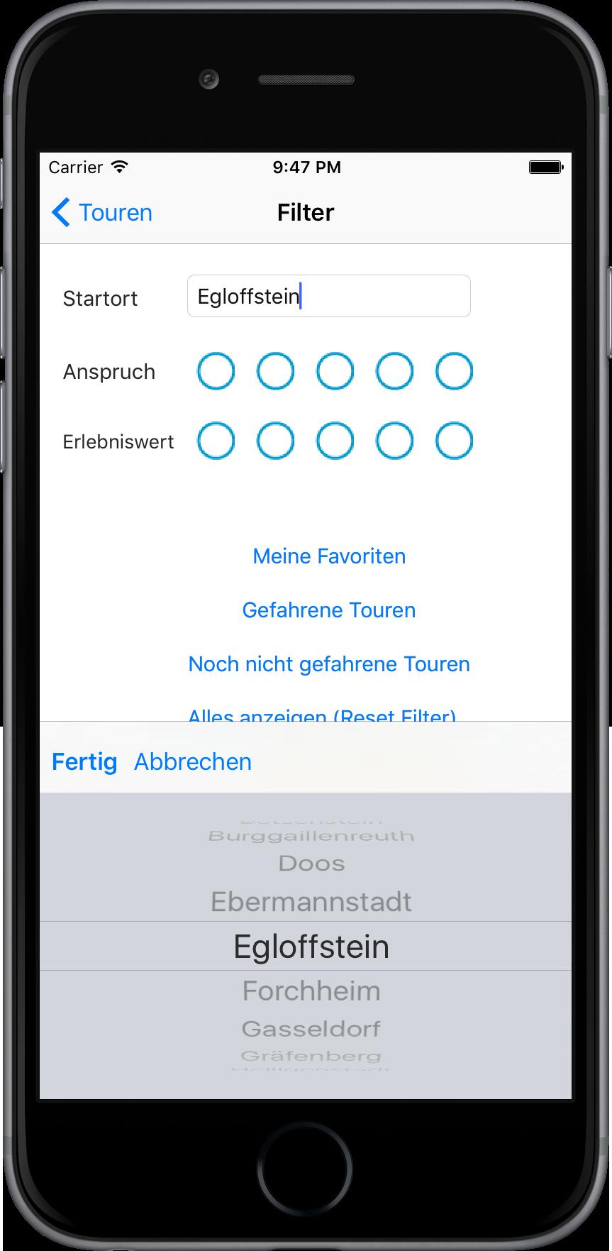 Apps. Neuer Filter für die Touren.