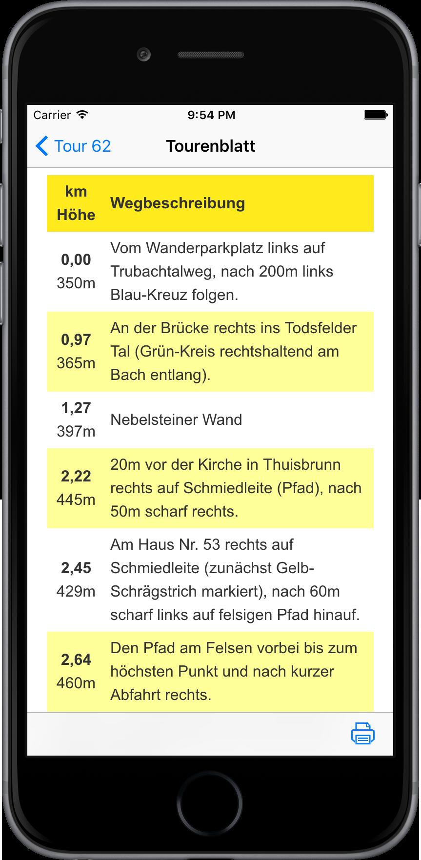 Apps. Tourenbeschreibung mit Volltextsuche.